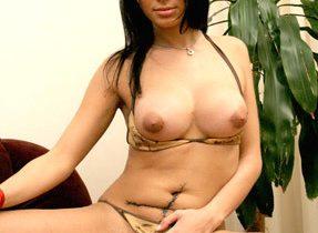 Busty Latina Ts Spreads Long Legs