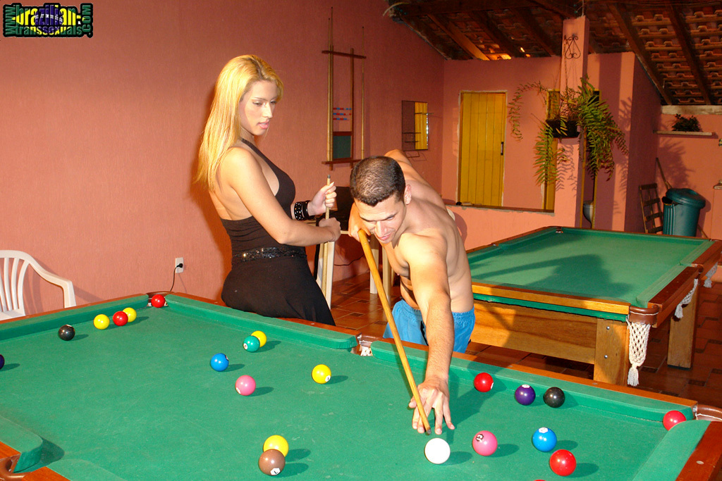 Patricia And Her Boy Rubber Vibrator Davi Get Spicy In A Pool Hall