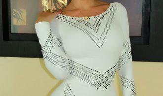 Provocative T-Girl Ana Mancini In Sleek White Dress