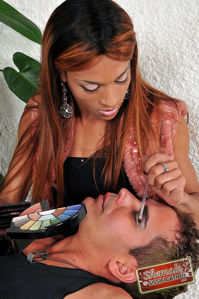 Shemale Avilla Scherzinger Forces Feminization On Her Dude