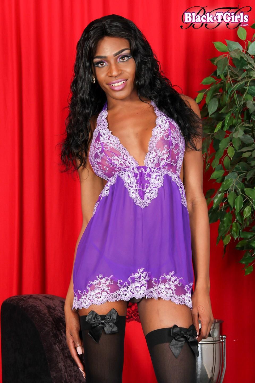 Serena Woods Wearing Stockings And Purple Undies