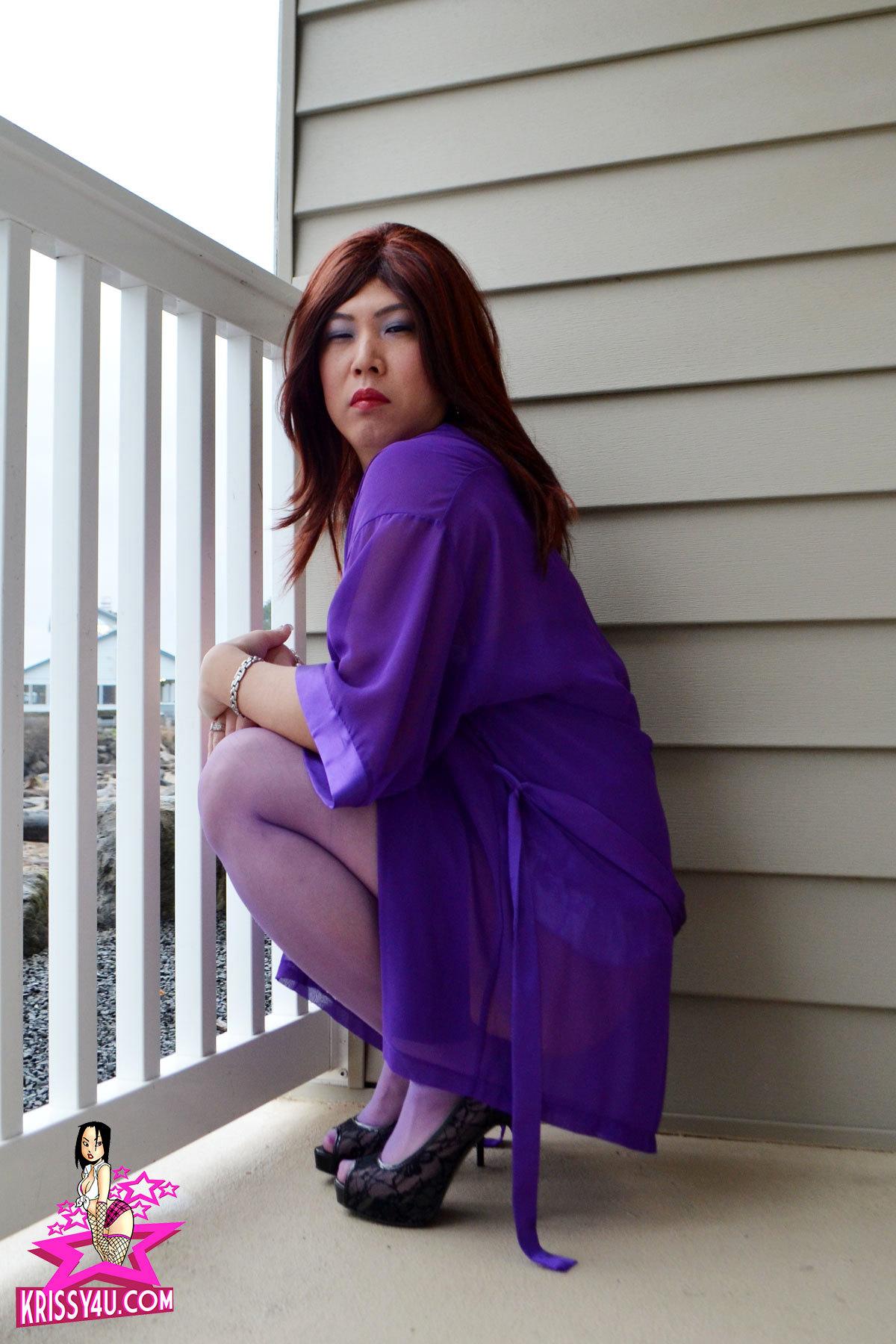 Krissy Kyung In Purple Undies On The Balcony
