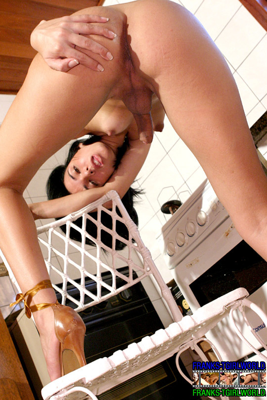 Sensual Transsexual In Beige Dress On The Porch